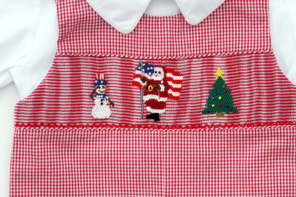 ... Red Boys Christmas Longalls with Smocked Santa--Carousel Wear - 2 - Baby Boys Longalls With Smocked Santa Claus, Snowman And Christmas Tre