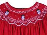 Smocked Red Christmas Dress for toddler girls