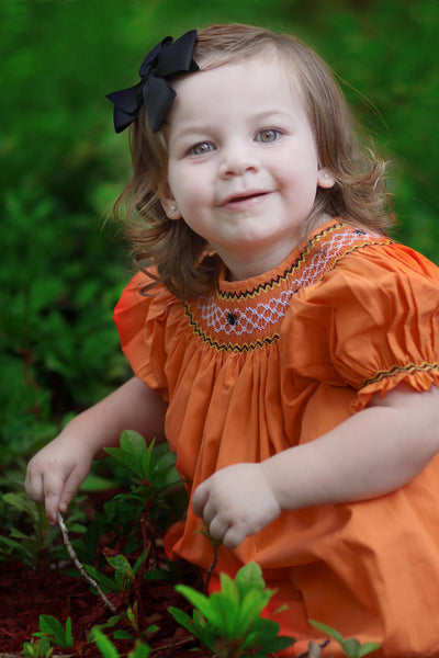 Girls Halloween Orange Dress with Smocked Spider Webs