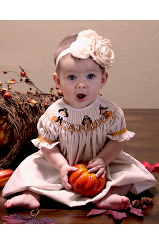 Thanksgiving Girls Bishop Dress with Smocked Pilgrims Turkey and Indian--Carousel Wear - 1