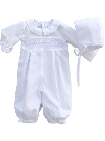 Smocked White Infant Boys Christening Outfit