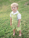 Smocked green boys spring Easter shortall
