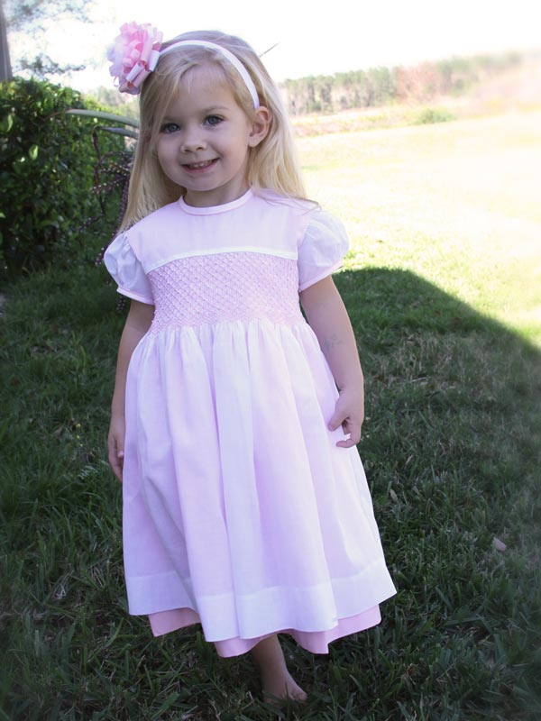 White and Pink Girls Hand Smocked Dress