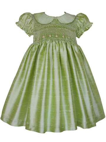 Hand Smocked Silk Girls Dresses