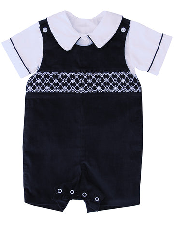 Special Occasion Boys Navy Smocked Outfit