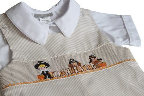 Boys Thanksgiving John John Smocked Pilgrim Indian--Carousel Wear - 2