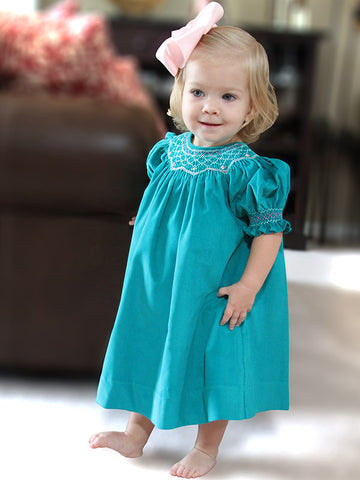 Girls Smocked Fall Winter Bishop Dress in Teal Corduroy