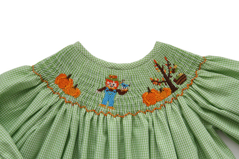 Thanksgiving Girls Bishop Dress with Hand Smocked Long Sleeves--Carousel Wear - 2