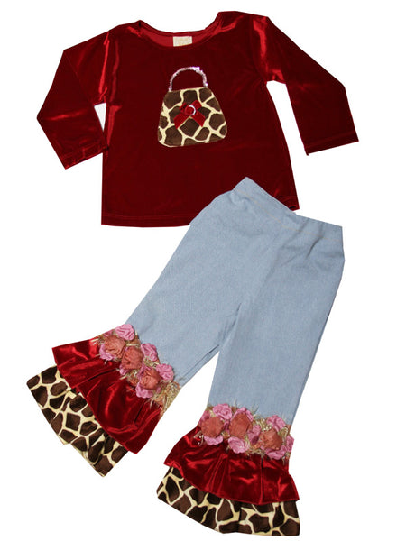 Toddler Girl Velvet Holiday Outfit with Giraffe Appliqué Purse