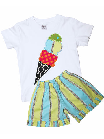 Beautiful Ice Cream Girls 2Pc Summer Short Set