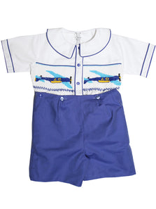 Boys Buttons On Shorts Smocked Jet Airplanes Outfit