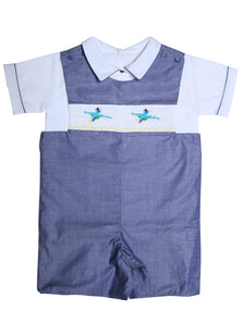 Boys Hand Smocked Fighter Jet Airplanes Shortall