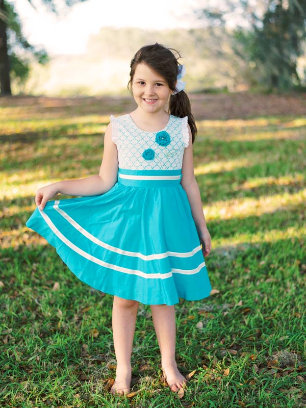 Toddler Girls Summer Turquoise Twirly Dress