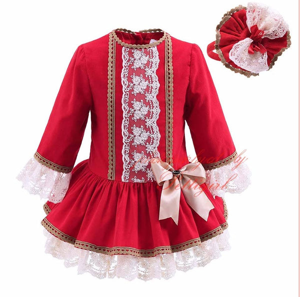 Girls Corduroy and Lace Dress