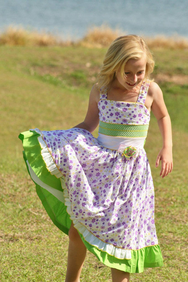 Beautiful violet green girls summer dress 3m 6m--Carousel Wear - 1