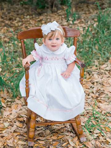 Madeline White Girls Dress with Pink Ribbons and Hand Smocking