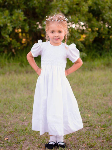Hand Smocked Heirloom White Girls Communion Dress