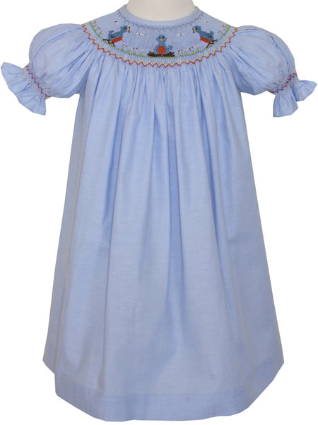 Baby Girls Blue Spring Smocked Bishop Dress 2T