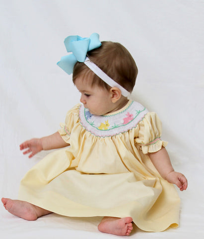 Hand Smocked Yellow Girls Bishop Dress with the Easter Bunny and Long Sleeves--Carousel Wear - 2