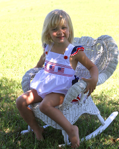 Baby Girls Patriotic Bubble Romper with USA Flags 4th of July--Carousel Wear - 1