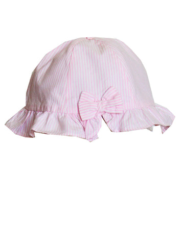 Baby Girls Pink Smocked Bubble Romper with Hat 9m