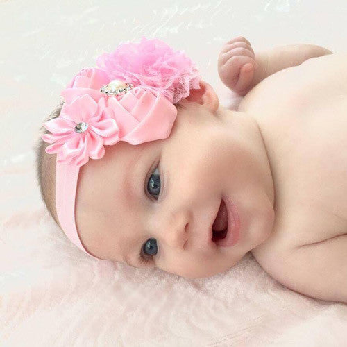 Baby Pink Headband with Rhinestones for Portraits--Carousel Wear