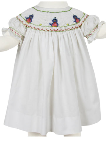 Baby Girls White Spring Smocked Bishop Dress 6m