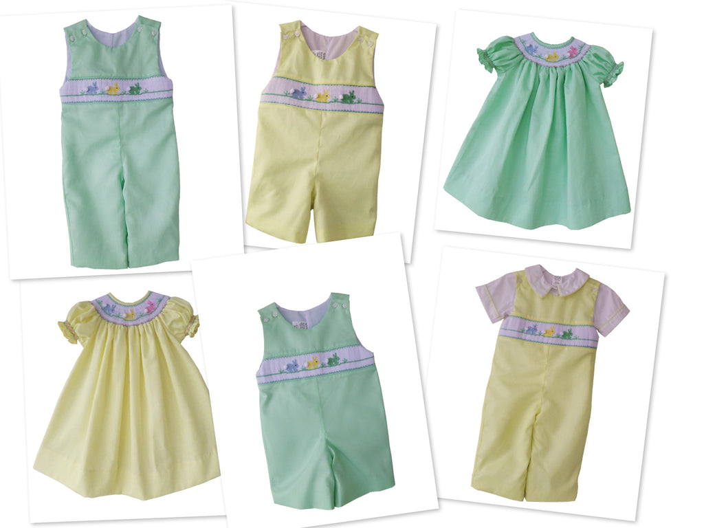 d1c778b73d99 ... 1; Little Boy Shortall with Smocked Easter Bunnies in Yellow--Carousel  Wear - 2