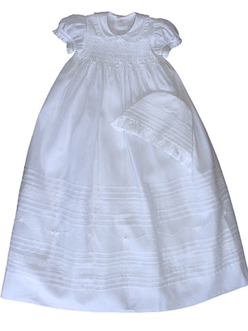 Lace Christening Gown with Bonnet for Baby Girls