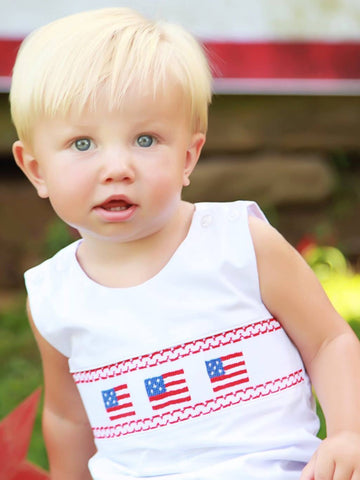 Smocked Baby Boys USA FLAG OUTFIT
