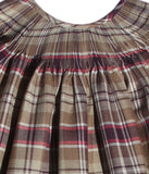 Girls Ready to Smock Plaid Tan Dress for Fall and Winter--Carousel Wear - 2
