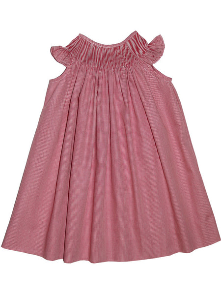 Ready to Smock Girls Bishop Dress in Red Micro Checks 2T