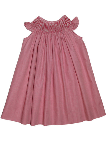 Ready to Smock Girls Bishop Dress in Red Micro Checks