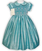 Girls Aqua Blue Silk Smocked Special Occasion Dress size 8--Carousel Wear - 1