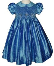 Girls Silk Smocked Jewel Holiday Dress--Carousel Wear - 1