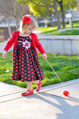 Girls Black and Red Polka Dot Vera Dress--Carousel Wear - 2