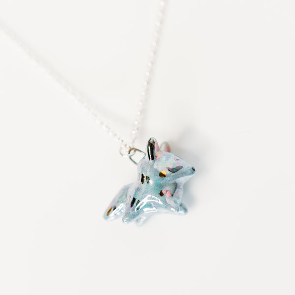 Grey Aura Fox Necklace