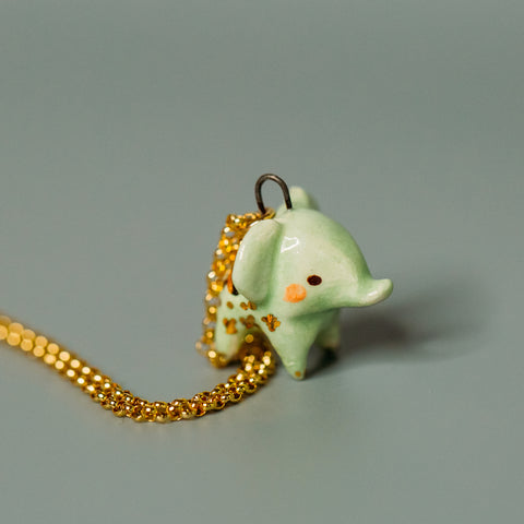 Mint Elephant Necklace