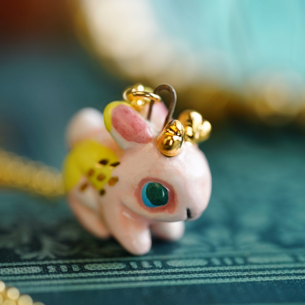 Pink Jackalope Necklace