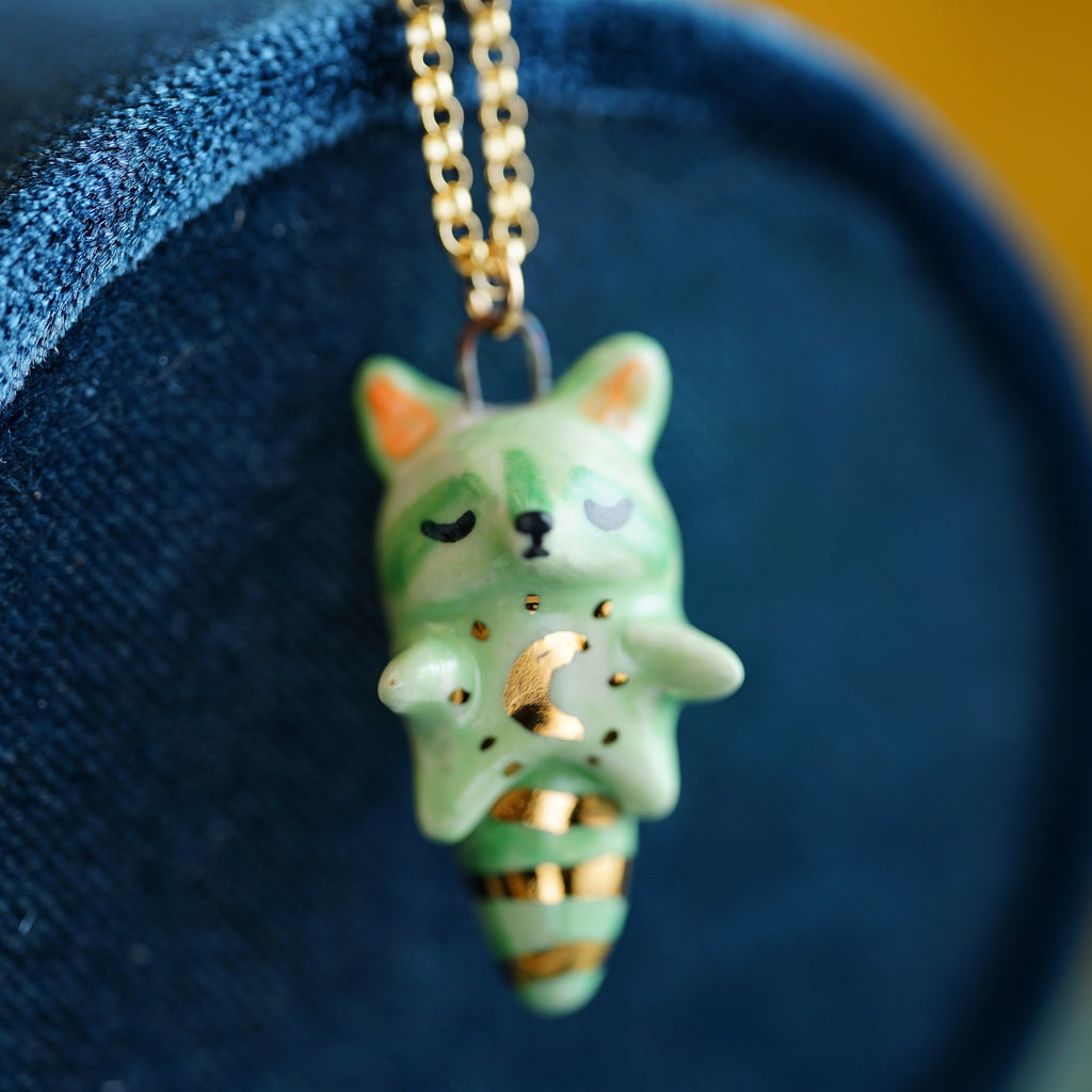 Mint Moon Raccoon Necklace