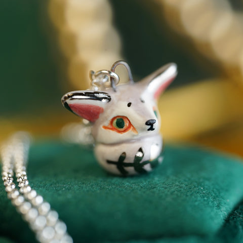 Grey Fennec Fox Necklace