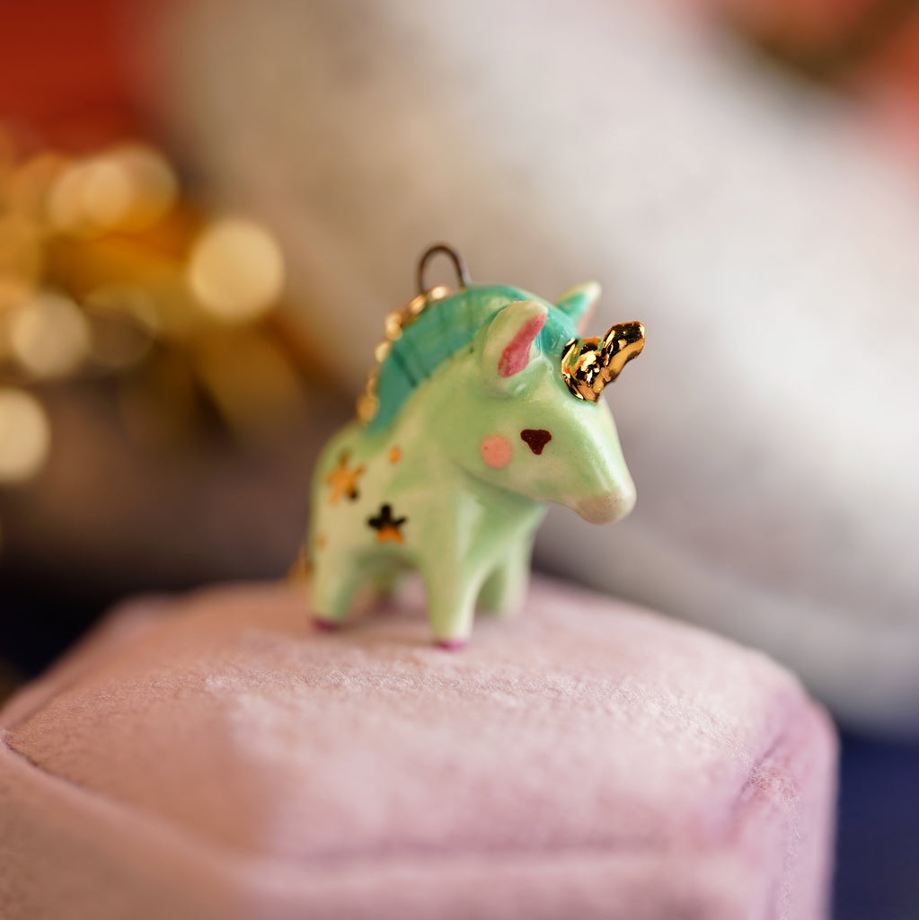 Green Unicorn Necklace