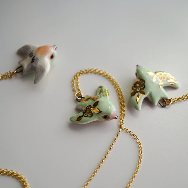 Mint Floral Swallow Necklace
