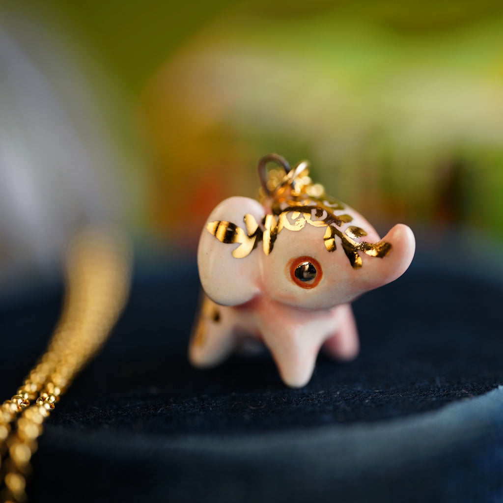 Pink Floral Elephant Necklace