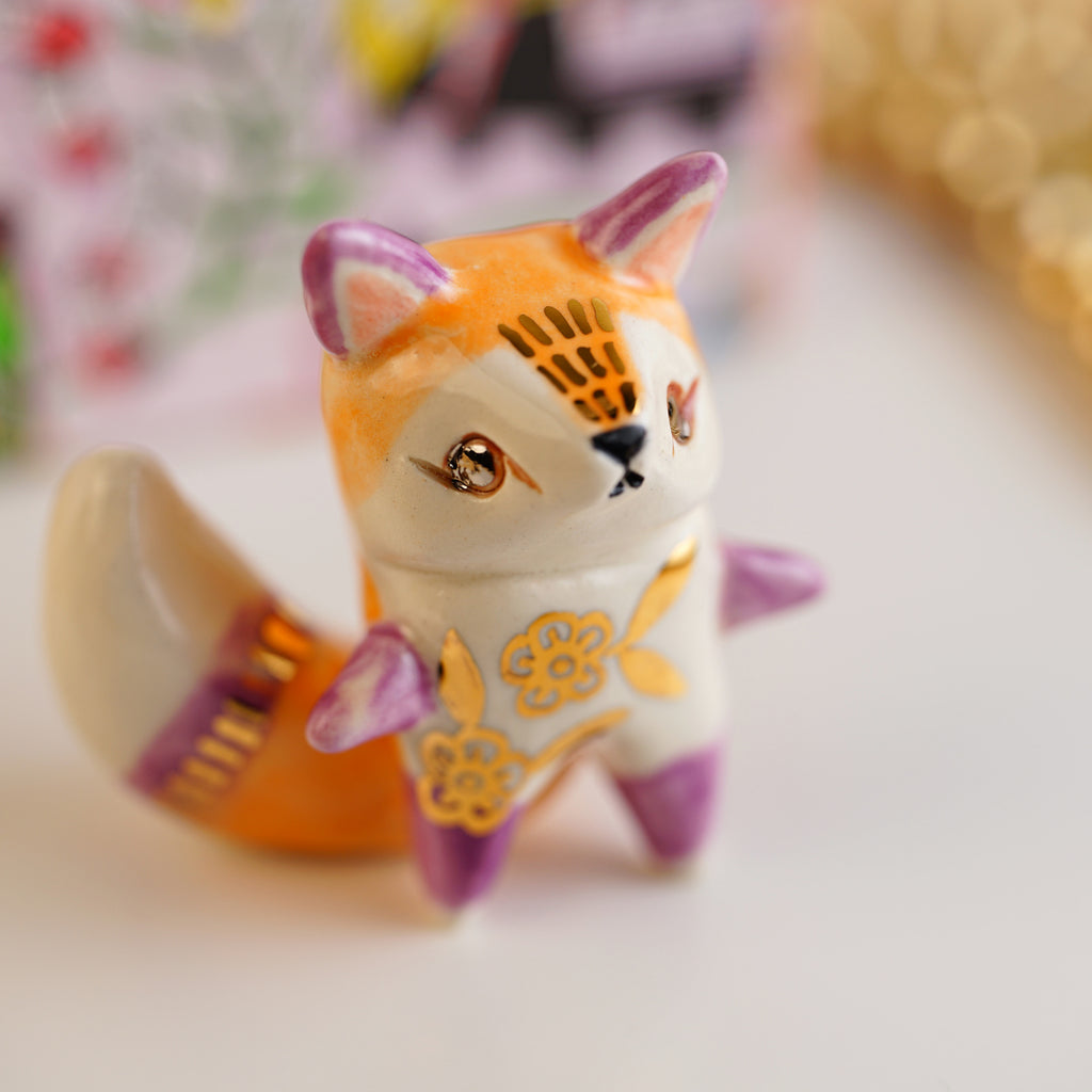 Floral Fox Figurine