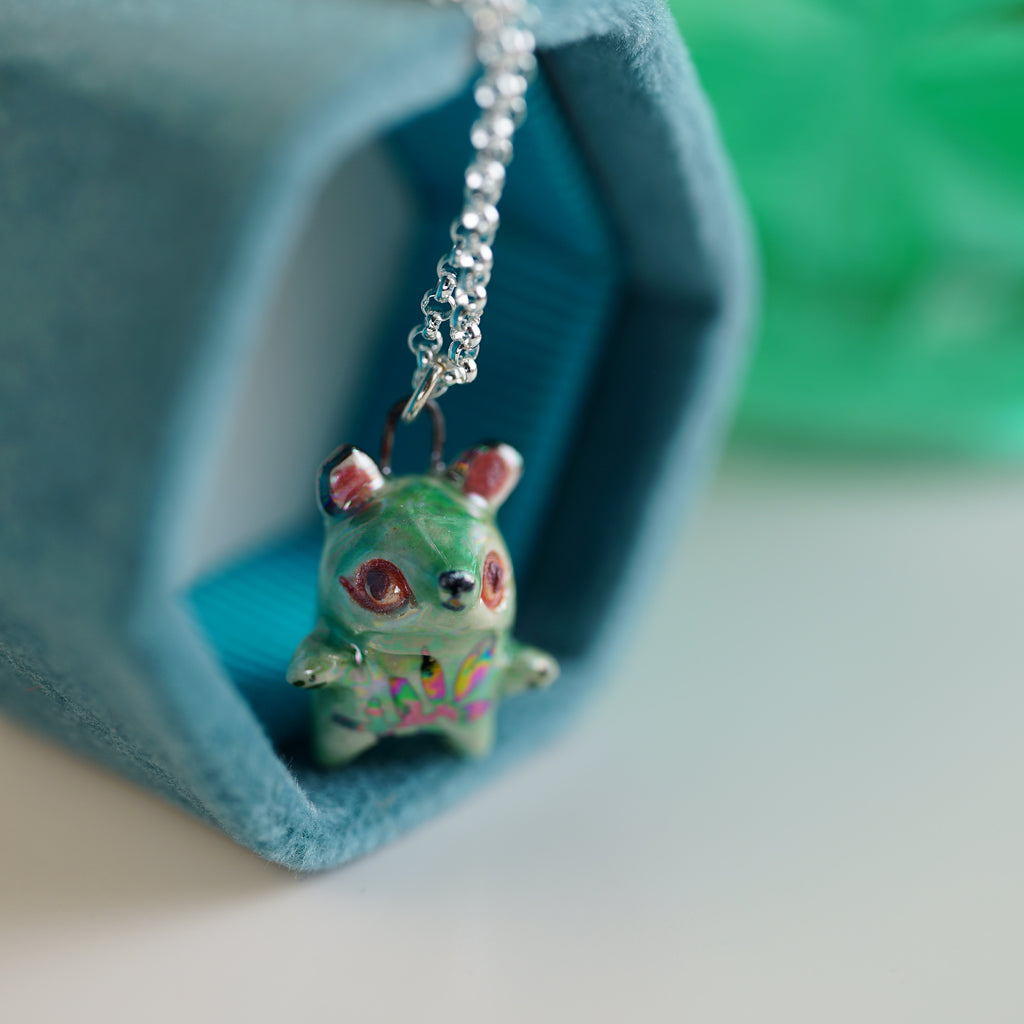 Tiny Aura Bear Necklace