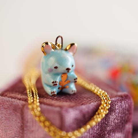 Blue Fern Bear Necklace