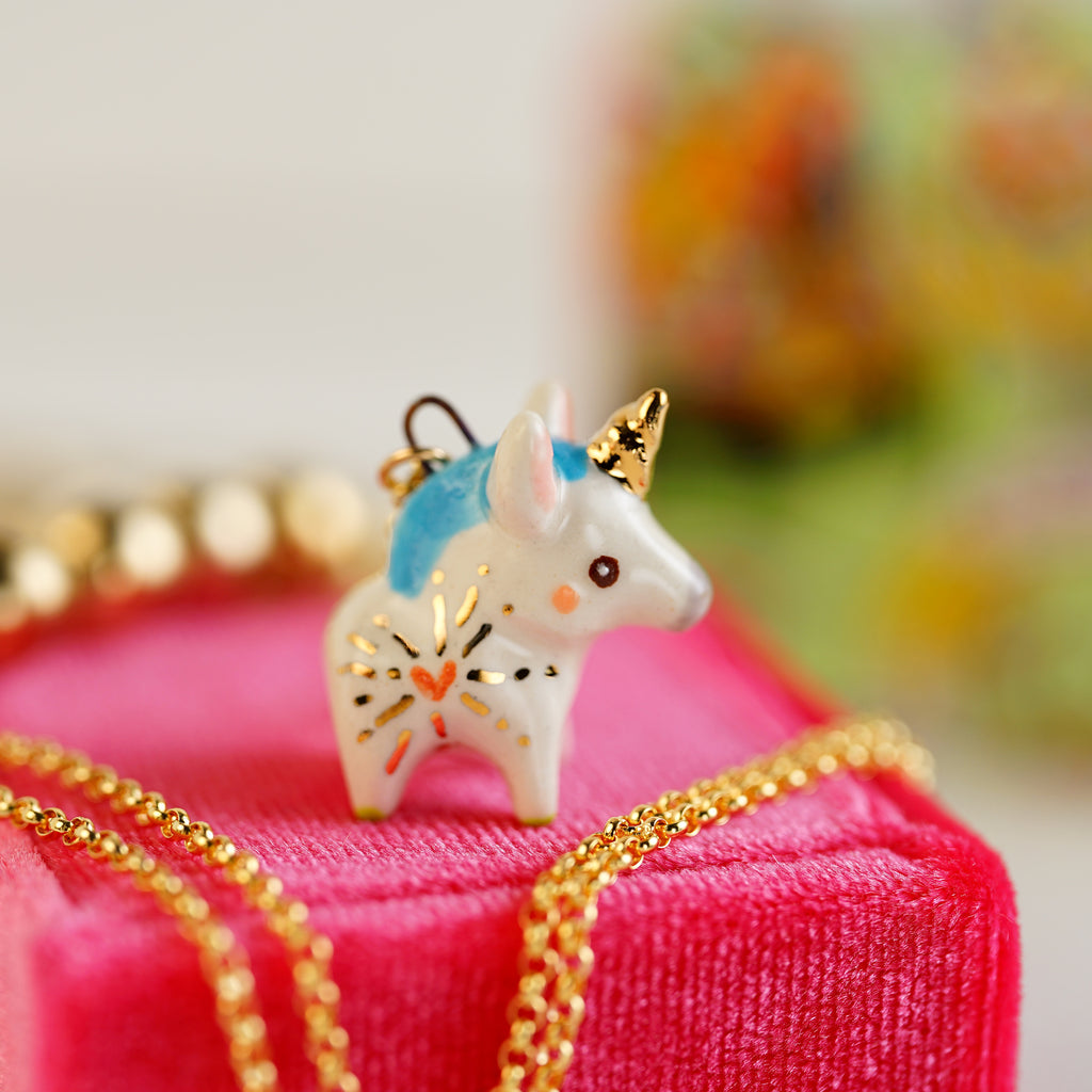 Tiny Heart Unicorn Necklace