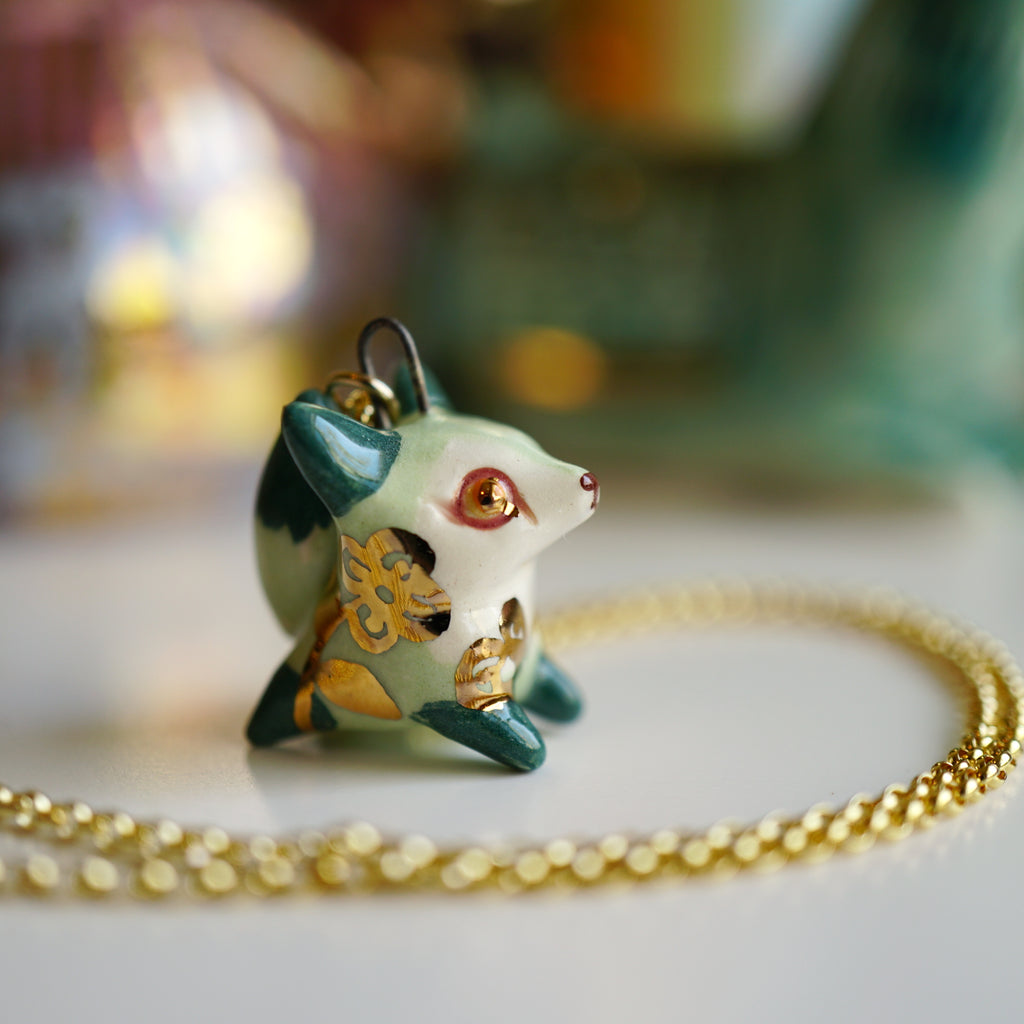 Mint Floral Fox Necklace