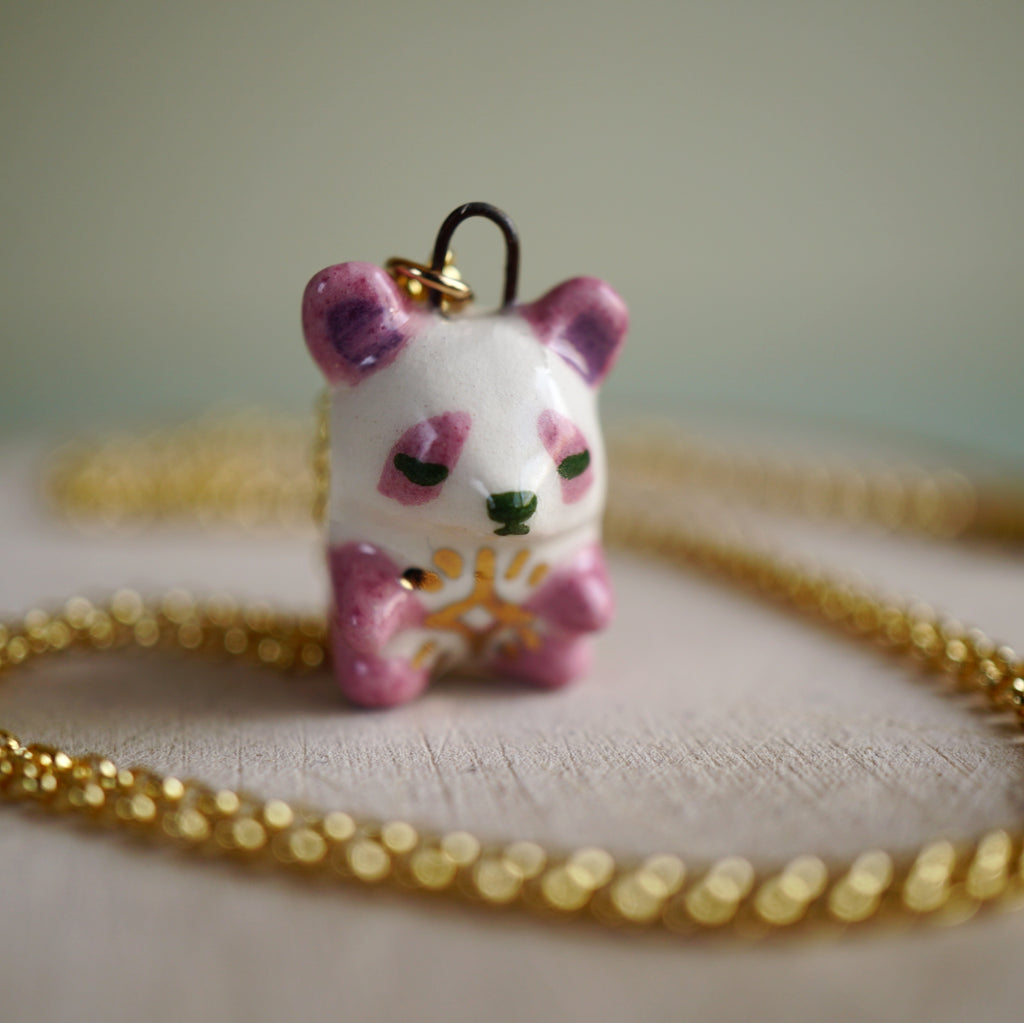 Pink Star Panda Necklace